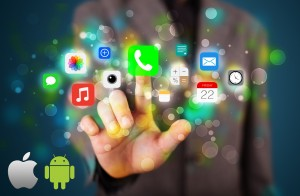 Handsome businessman pressing colorful mobile app icons with bok