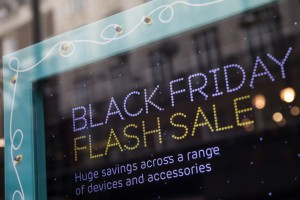 LONDON, ENGLAND - NOVEMBER 22: A sign for Black Friday deals is displayed in a shop window on Oxford Street on November 22, 2016 in London, England. British retailers have begun to offer deals on a range of their products as part of the pre-Christmas Black Friday shopping event, held this year on November 25. (Photo by Jack Taylor/Getty Images)